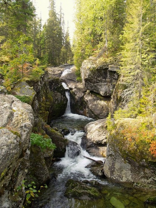 Northern Urals of Russia waterfalls