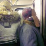 Swine flu homemade mask in Moscow metro