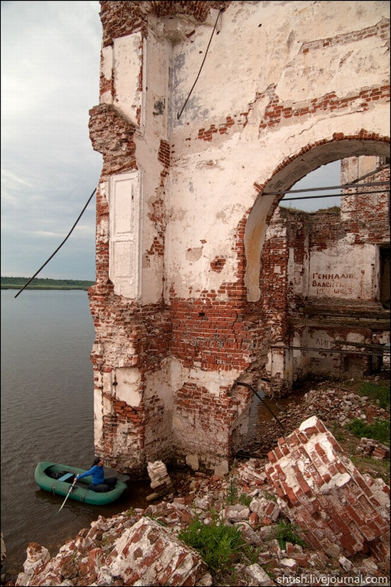 Vologda oblast, Russia flooded church view