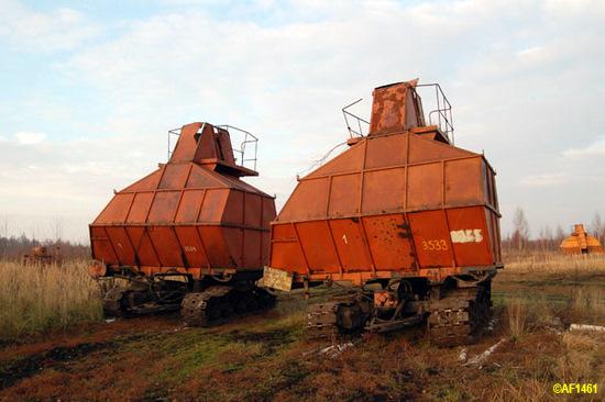 Russian futuristic peat harvesters