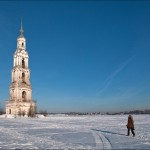 The flooded bell tower of Kalyazin town