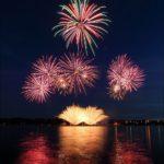 Kostroma city fireworks festival views