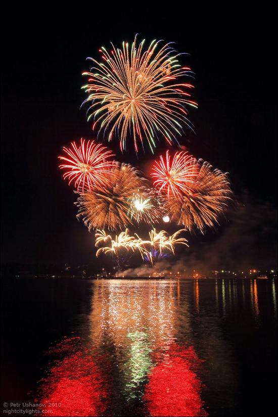 Kostroma city, Russia fireworks festival view