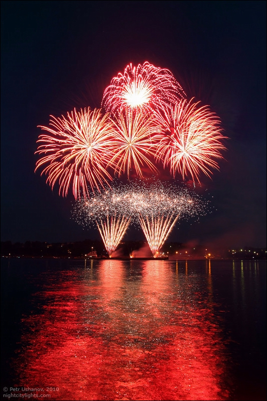 Kostroma city, Russia fireworks festival view