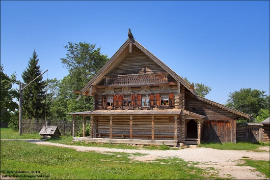 Russian wooden architecture museum view