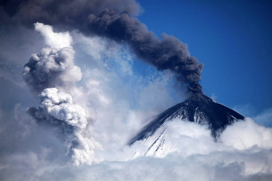 Kluchevskaya Sopka volcano eruption, Kamchatka, Russia