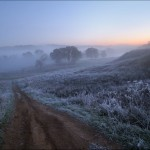 Frosty and foggy Russian dawn