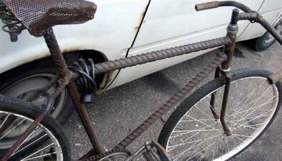 Russian bike made of reinforcing steel bars