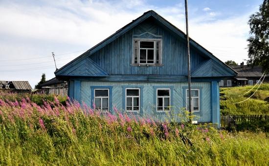 Kovda village, Russia wooden houses view 2