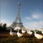 Russian village of Paris and its Eiffel Tower