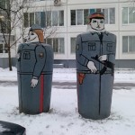Weird statues of Russian police officers