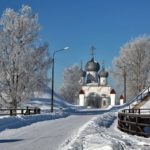 Stone churches of ancient Russian town Belozersk