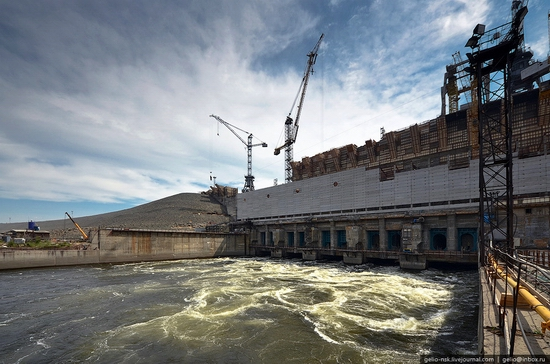 Boguchanskaya hydropower plant construction view 5