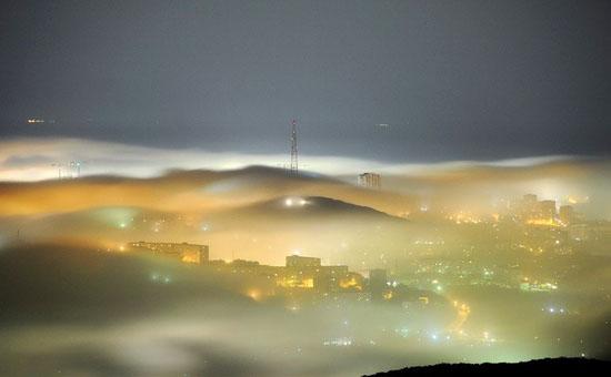 Mysterious fog over Vladivostok city, Russia view 1