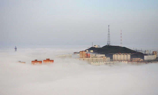 Mysterious fog over Vladivostok city, Russia view 10
