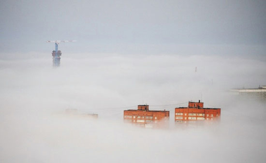 Mysterious fog over Vladivostok city, Russia view 11