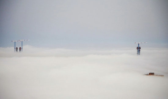 Mysterious fog over Vladivostok city, Russia view 12