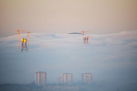 Mysterious fog over Vladivostok city, Russia view 7