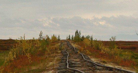 Abandoned Transpolar railway Salekhard-Igarka, Russia view 3