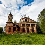 Abandoned Znamenskaya church in Teploye estate