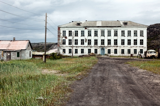 Abandoned school, Teriberka, Kola Peninsula, Russia view 1