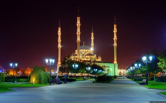 Grozny city at night time, Russia
