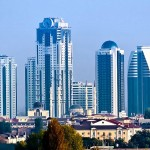 The views of Grozny city rebuilt after the war
