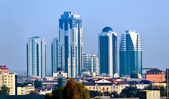 Grozny city rebuilt after the wars, Russia