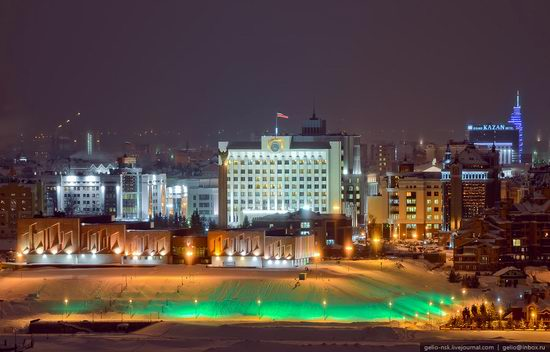 Winter Kazan city, Russia bird's eye view 10