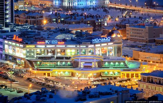 Winter Kazan city, Russia bird's eye view 11