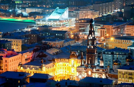 Winter Kazan city, Russia bird's eye view 12