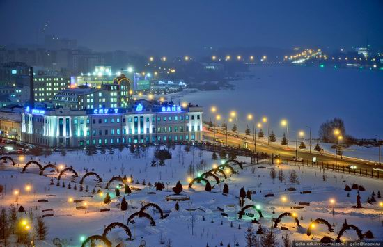 Winter Kazan city, Russia bird's eye view 16