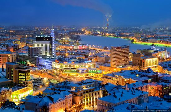 Winter Kazan city, Russia bird's eye view 4