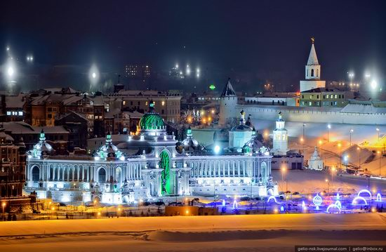 Winter Kazan city, Russia bird's eye view 8