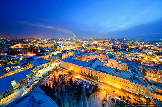 Winter Kazan city, Russia bird's eye view 9