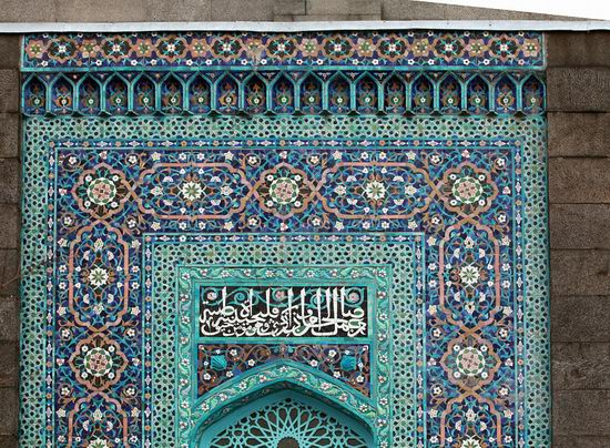 Beautiful mosaic of mosque in Saint Petersburg, Russia view 2
