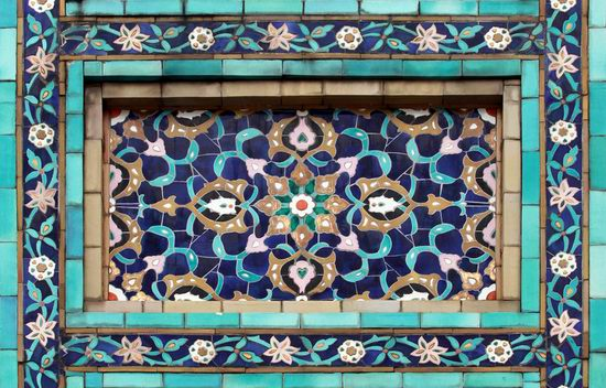 Beautiful mosaic of mosque in Saint Petersburg, Russia view 3