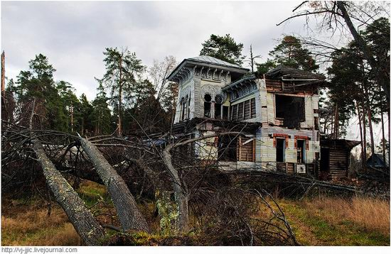 The remains of beautiful Sorokin's dacha, Yaroslavl oblast, Russia view 1