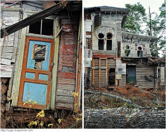 The remains of beautiful Sorokin's dacha, Yaroslavl oblast, Russia view 2