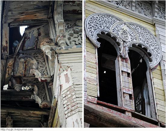 The remains of beautiful Sorokin's dacha, Yaroslavl oblast, Russia view 5
