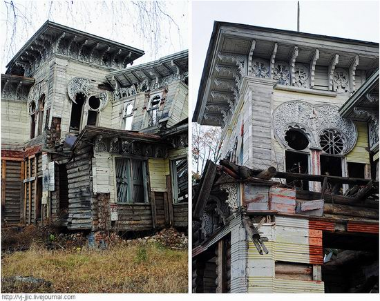 The remains of beautiful Sorokin's dacha, Yaroslavl oblast, Russia view 7