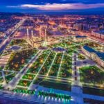 Night views of Grozny city from above
