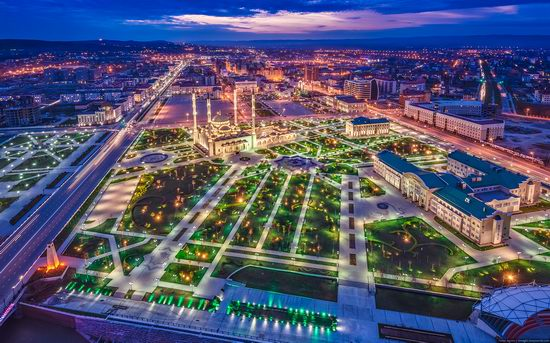Grozny city, Russia night view from above photo 1