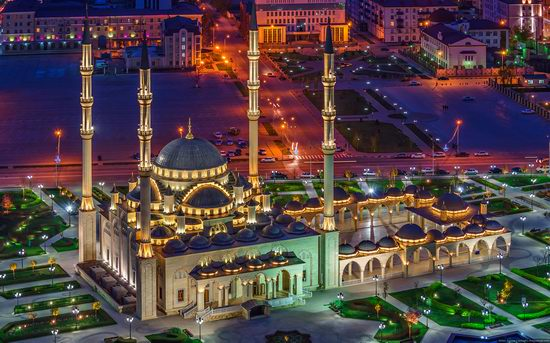 Grozny city, Russia night view from above photo 2