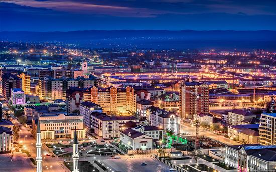 Grozny city, Russia night view from above photo 7