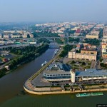 Omsk city from bird's eye view