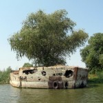 Abandoned ship made of concrete