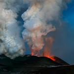 Eruption of volcano Plosky Tolbachik in Kamchatka