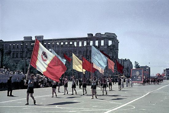 Athletic parade, Stalingrad, USSR, May 1945 photo 3