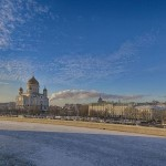 Beautiful views of Moscow on a frosty day